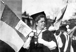 Harriot Stanton Blatch leading the suffragette parade by unknown