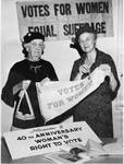 Lucia McCurdy McBride (Mrs. Malcolm L. McBride) with suffrage banners by Frank Reed