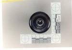 Weapon 31. Closeup of lens of black metal flashlight, top view