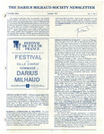 The Darius Milhaud Society Newsletter, Vol. 3, Summer 1987
