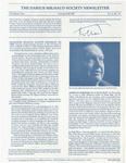 The Darius Milhaud Society Newsletter, Vol. 5, Summer/Fall 1989
