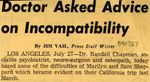 54/07/27 Doctor Asked Advice on Incompatibility