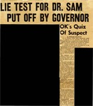 57/07/22 Lie Test For Dr. Sam Put Off By Governor