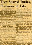 54/07/05 They Shared Duties, Pleasures of Life by Cleveland News