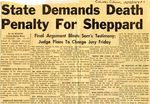 54/12/15 State Demands Death Penalty For Sheppard by The Columbus Citizen