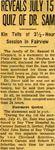 54/07/31 Reveals July 15 Quiz Of Dr. Sam by Cleveland Plain Dealer