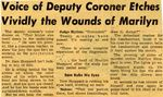 54/11/05 Voice of Deputy Coroner Etches Vividly the Wounds of Marilyn by Cleveland Press