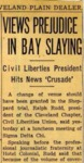 54/11/16: Views Prejudice in Bay Slaying by Cleveland Plain Dealer