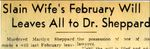 54/08/29 Slain wife's February will leaves all to Dr. Sheppard