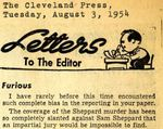 """54/08/03 Letters To The Editor: """"Furious""""; """"Sees Press in Rabble Rousing Role"""" by Cleveland Press"""