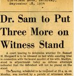 54/09/18 Dr. Sam to put three more on witness stand