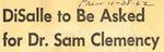 62/11/28 DiSalle to Be Asked for Dr. Sam Clemency