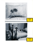 "Plaintiff's Exhibit 1105 & 1107: Bloody pillow with the ""impression side"" visible; Marilyn on bed by Cleveland / Bay Village Police Department"